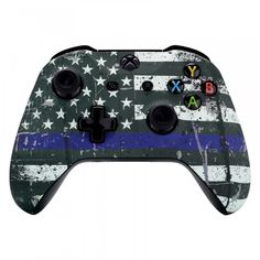 eXtremeRate Custom Patterned Front Housing Shell Faceplate for Xbox One S & Xbox One X Controller - The Thin Blue Line Flag of USA Purple Line, Thin Blue Line Flag, Thin Blue Lines, Custom Xbox One Controller, Xbox Controller, Xbox One S, Xbox One Games, Buy Xbox, Consoles