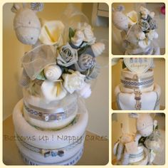 Neutral, giraffethemed 3 tier nappy cake with clothing bouquet, Baby Sleeping plaque and giraffe topper.