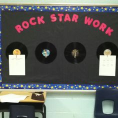Rock Star display board using old records and clothes pins. Star Themed Classroom, Stars Classroom, Music Classroom, Classroom Themes, Classroom Signs, Black History Month Poems, Family History Quotes, Black History Quotes, History Lessons For Kids
