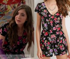 4b811f8c857 Girl Meets World  Season 2 Episode 14 Riley s Black and White Floral Romper  8th Grade