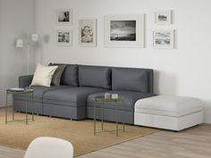 Make your dream room a reality. Become the best interior designer with the help of our VALLENTUNA planner. Sofa Cama Ikea, Ikea Sofas, Modular Corner Sofa, Modular Sofa, Armchair Bed, Sofa Bed, Ikea Vallentuna, Flexible Furniture, Small Spaces