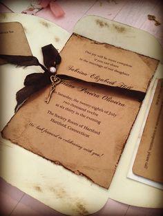 50 Handmade Personnalisé Mariage Invitations Jour//Soir Marron Kraft rustique