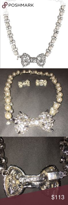 Betsy Johnson pretty punk pearl necklace & earring Beautiful and flawless Betsey Johnson Jewelry Necklaces
