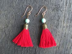 earrings, tassel earrings, HAPPY COLOR tassel earrings, LIGHTWEIGHT, rose gold earrings, light earrings, red and blue