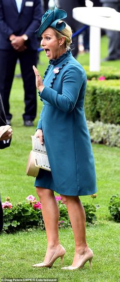 The monarch arrived by an open-top carriage for Ladies' Day at Royal Ascot, alongside Prince Andrew and Princess Anne. Zara and Mike Tindall were also back for day three of the meet. Royal Ascot Ladies Day, Autumn Phillips, Forest Green Dresses, Zara Phillips, Cocktail Hat, Silk Floral Dress, Royal Fashion, British Royals, Princess