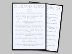 Baby Shower Game - Children's Book Trivia - Instant Download - Black @Colleen Torrence