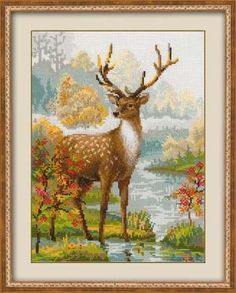 Full Counted Modern Cross Stitch Hand Embroidery Kit with Pattern by Russian Manufacture, Deer in th Modern Cross Stitch, Cross Stitch Designs, Cross Stitch Patterns, Embroidery Kits, Cross Stitch Embroidery, Deer Crossing, Cross Stitch Landscape, Counted Cross Stitch Kits, Cross Stitching