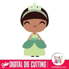 Cute Frog Princess Tiana  - Check out this cute Princess and The Frog's princess Tiana die cutting file. Digital die cutting files are designed specifically with cutting machines in mind. Use them with programs such as your Silhouette, Cricut (SCAL/MTC), Pazzles, Klick-n-Kut, Wishblade or any cutting machine that can use the following file formats: SVG, PDF, and DXF....