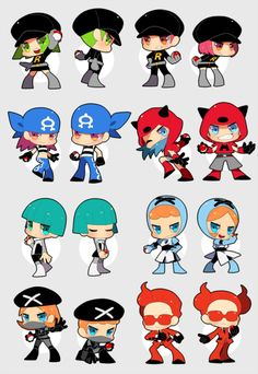 Pokemon Villain Grunts (game classification - these are my guesses - from left to right, up to down: Leafgreen & Firered (both Team Rocket), Sapphire (Team Aqua), Ruby (Team Magma), Diamond&Pearl (Team Galactic), Black & White (both Team Plasma), and X&Y (Team Flare)