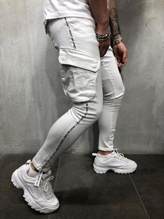 Top Expression White Jeans Cargo Pockets 4272 for Sale in St. Streetwear Jeans, Mode Streetwear, Streetwear Fashion, Best Mens Fashion, Fashion Wear, Latest Fashion Clothes, Fashion Tips, Fashion Styles, Modern Fashion