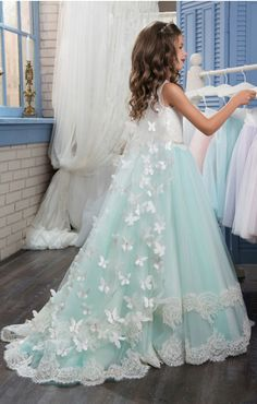 NNJXD Girls Pageant Embroidery Prom Gown Princess Wedding Dress for 7-15 Years