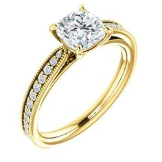 Cushion Cut Center Stone Diamond Accent Engagement Ring in 14 KT White Gold