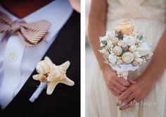 sea shell boutineer & bouquet!!!