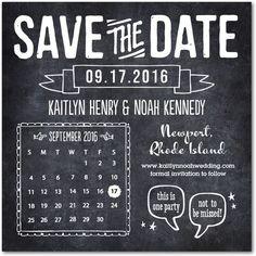 Crafty Chalkboard - Signature White Photo Save the Date Cards - Jenny Romanski - Black : Front