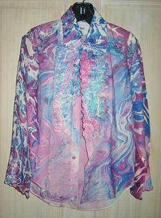 Tuxedo Shirt Rat Pack Child Marble Print Vintage 60s NOS Deadstock Ruffle Purple in 1965-76 (Mod, Hippie, Disco) | eBay