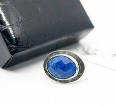 Lapis Lazuli 'Neptune' ring blue stone ring oxidised