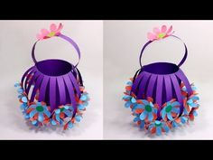 DIY Paper Basket : How to Make Easy & Beautiful Paper Basket- Jarine's Crafty Creation - DIY Paper Basket : How to Make Easy & Beautiful Paper Basket- Jarine's Crafty Creation – YouTub - Garden Crafts For Kids, Diy For Kids, Paper Crafts Origami, Diy Paper, Handmade Soaps, Handmade Crafts, Basket Crafts, Paper Basket, Flower Tutorial