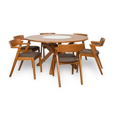 I like built in lazy susan. Found it at AllModern - Clayton 7 Piece Dining Set