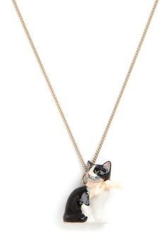 As Purr Usual Necklace by And Mary - Pink, Print with Animals, Bows, Cats, Better, International Designer, Black, White, Gold