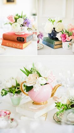 English garden inspired flowers. Old books and tea cups are a perfect center piece. Bridal Shower!