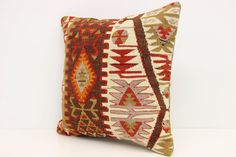 Handmade kilim pillow cover 16x16 inches Bohemian by Damgadecor