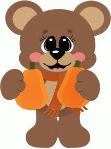 Silhouette Design Store - View Design #50288: bear holding pumpkins halloween
