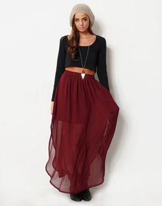6331279 -  High Waisted Chiffon Maxi Skirt