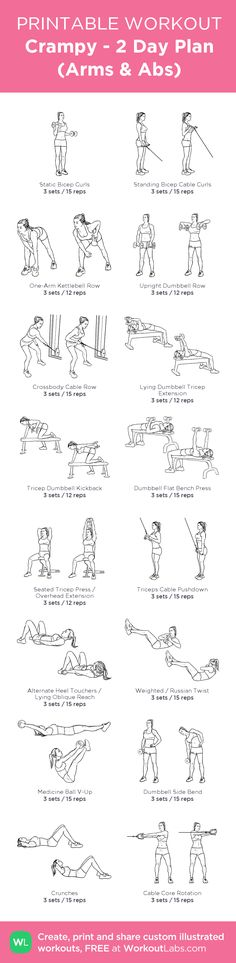 Crampy - 2 Day Plan (Arms & Abs):my visual workout created at WorkoutLabs.com • Click through to customize and download as a FREE PDF! #customworkout