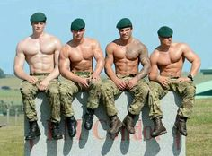 Members of 45 Commando Royal Marines (from left to right) Mne Thomas Field, Mne Carl Hodge. Mne David Coleman & Mne Johnathan Dunn posing for the back cover shot of the 2014 Go Commando charity calendar calendar in Arbroath, Scotland. Sexy Military Men, Army Men, Army Guys, British Royal Marines, British Army, Hot Cops, Ange Demon, Hommes Sexy, Men In Uniform