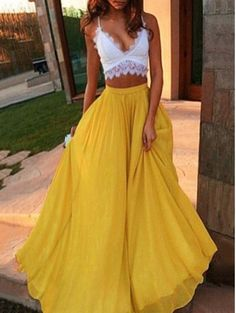A-line V-neck Lace Chiffon Floor-length with Ruffles Prom... .. Source: Drooltube . com