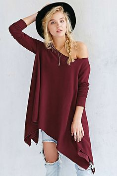 Solid Color One-Shoulder Long Sleeve T-Shirt WINE RED: Tees | ZAFUL