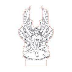 Magic fairy illusion lamp plan vector file OP for CNC - Cnc, 3d Illusion Art, Photo Lamp, Magic Illusions, Lampe Led, Led Lamp, Wood Burning Patterns, Vector File, Black Art