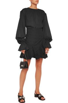 Ruffled wrap-effect embroidered cotton mini dress | GOEN.J | Sale up to