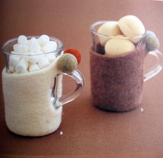 """cupholders- from the book """"simple zakka and bag of felt wool"""", ISBN # 4-277-43072-4"""
