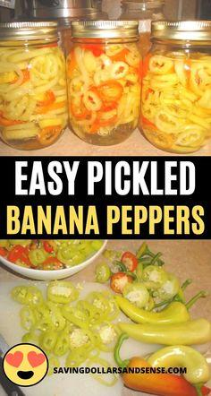 Pickled Pepper Recipe, Pickled Sweet Peppers, Pickled Banana Peppers, Stuffed Banana Peppers, Stuffed Sweet Peppers, Pepper Jelly Recipes, Relish Recipes, Canned Banana Peppers Recipe, Banana Pepper Relish Recipe