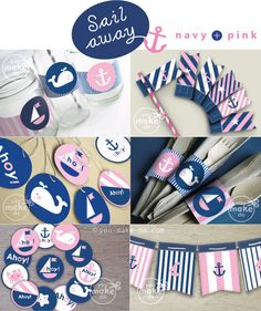 Navy and pink nautical party printables full of nautical party decorations to make a nautical birthday party, nautical baby shower, nautical gender reveal party, or other unique nautical party celebration. Nautical Baby Shower Decorations, Nautical Party, Nautical Wedding, Nautical Banner, Nautical Food, Party Box, Baby Party, Girl First Birthday, First Birthday Parties