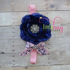 Pink - Navy - White Ranunculus Flower with Nautical Anchor Ribbon Bow Headband Photography Prop for Newborns, Girls, Babies, Toddlers, Teens on Etsy, $8.95