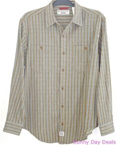 Levi's Strauss Mens Shirt Striped Cotton Long Sleeve Button Front Green Blue M  #LeviStraussSignature #ButtonFront