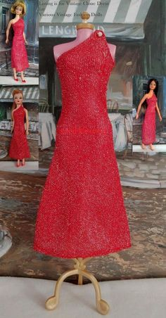 Trend Vtg Barbie Doll Clone Red Silver Glitter dress for Suzette u other like dolls