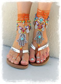 HAMSA hand BAREFOOT sandals by GPyoga.saving as inspiration to make my variation Hippie Style, Boho Hippie, Gypsy Style, Boho Gypsy, Bohemian Style, Boho Chic, Estilo Hippie, Ibiza Fashion, Bohemian Fashion