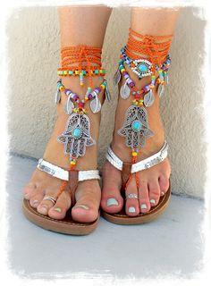 Mano HAMSA joyería de danza del vientre tribal sandalias