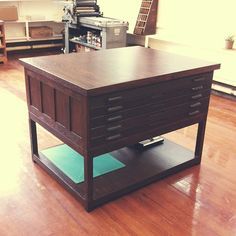 Custom made work table made using wooden flat file drawers at Letter & Lark Letterpress.