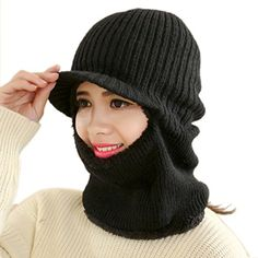 MosunxTM Women Winter Warm Cap Braided Warm Wind knitted Unisex Hat Black ** Click on the image for additional details.