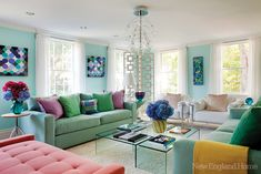 Somebody here loves turquoise! This colorful home belongs to artist and trained architect Margo Ouellette, who also acted as the interior designer. Pretend you hadn't seen the amazing hydrangeas...would you believe the home is located on Martha's Vineyard?? Looks so different than the interiors we're used to seeing there. One thing stays the same though: inspiration from the view outside.