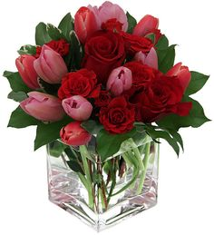 Modern Tulip Arrangements | Pink Tulips and Red Roses for Valentine's Day - Canada Flowers