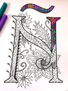 Letter Ñ Zentangle  Inspired by the font Harrington by DJPenscript