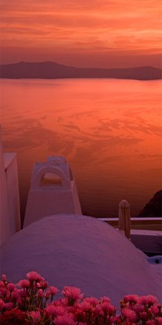 Pink Sunset in Santorini, Greece