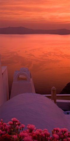 Pink Sunset in Santorini, Greece