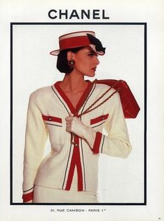 Inès de La Fressange for Chanel 1987 Fashion, Chanel Fashion, Retro Fashion, Vintage Fashion, Chanel Outfit, Women's Fashion, Chanel Couture, Haute Couture Handbags, Coco Chanel