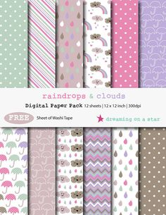 Digital Scrapbooking Paper Pack with FREE Washi Tape - Raindrops & Clouds by DreamingOnAStar, €3.00